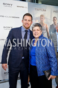 """Channing Tatum, Director of Homeland Security Janet Napolitano. Photo by Tony Powell. """"White House Down"""" red carpet. AMC Loews Georgetown. June 22, 2013"""