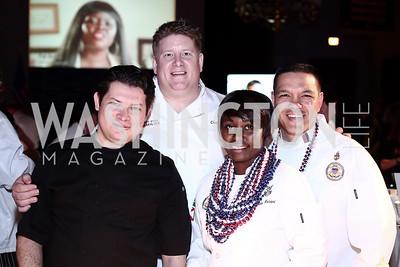 Rony Osorio, Chef Chros Clime, CS1 Frida Karani, Senior Chief Wes Tavares. Photo by Tony Powell. 6th Annual Blue Star Neighbors Gala. Chamber of Commerce. April 7, 2016