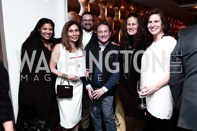 Lydia Logan, Gigi Hafizi, Gene Haigh, Daren Thomas, Julia Cohen, Erica Payne. Photo by Tony Powell. Jay Newton-Small Book Party. Cafe Milano. January 10, 2016