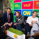 Jake Tapper, Robin Dearden, Bryan Cranston, Spencer Garrett. CNN Political Hangover. Photo by Joy Asico. Long View Gallery. May 1, 2016