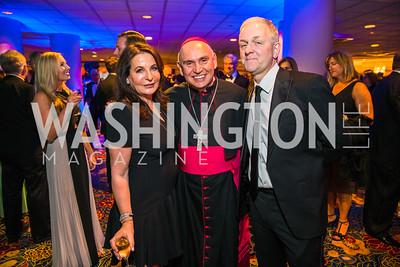 Anna Trone, Bishop Mario Dorsonville, , Robert Trone,. Photo by Alfredo Flores. Catholic Charities Gala 2016. Washington Marriott Wardman Park Hotel. April 30, 2016