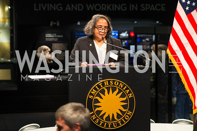 Cathy Lewis. Photo by Alfredo Flores. Fifth Annual Symposium of The Carmel Institute — U.S., Russia and The International Space Station, Partners in Orbit. Smithsonian's National Air and Space Museum. April 19, 2016.