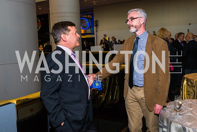 Frank Slazer, Michael Moloney. Photo by Alfredo Flores. Fifth Annual Symposium of The Carmel Institute — U.S., Russia and The International Space Station, Partners in Orbit. Smithsonian's National Air and Space Museum. April 19, 2016.