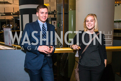 Zach Hinsch, Molly Anderson. Photo by Alfredo Flores. Fifth Annual Symposium of The Carmel Institute — U.S., Russia and The International Space Station, Partners in Orbit. Smithsonian's National Air and Space Museum. April 19, 2016.