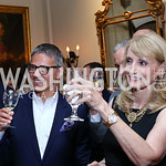 Vice President Joe Biden Residence Manager and Social Secretary Carlos Elizondo, Rhona Wolfe Friedman. Photo by Tony Powell. Septime's Farewell. Residence of France. June 6, 2016