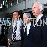 Jim VandeHei, Honoree Tim Cook, Fred Ryan. Photo by Tony Powell. 2017 Free Expression Awards. Newseum. April 18, 2017
