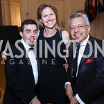 Ashraf Ghorbal, Sarah Thorpe, Angel Saltos. Photo by Tony Powell. 2017 Innocents at Risk Gala. OAS. April 26, 2017