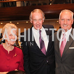 Amb Swanne Hunt, Sen Ed Markey, Tony C Foster. Photo by Patricia McDougall.  2017 National Dialogue Awards. National Press Club. November 16, 2017.