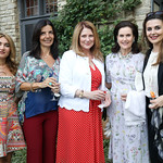 Indira Gumarova, Micaela Varricchio, Susan Pompeo, Alexandra de Borchgrave, Kosovo Amb. Vlora Citaku. Photo by Tony Powell. 2018 Welcome Summer Party. Villa Firenze. June 19, 2018