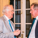 Sir Tim Rice, British Ambassador Kim Darroch, Photo by Alfredo Flores. An evening with Sir Tim Rice. The British Embassy. February 13, 2018.