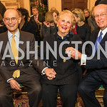 William Nitze, Jacqueline Mars, Bill McSweeney, Photo by Alfredo Flores. An evening with Sir Tim Rice. The British Embassy. February 13, 2018.