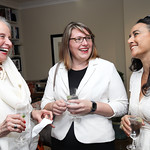 Cathie Scoville, Hilary Fry, Soraya Chemaly. Photo by Tony Powell. Conversation with Ashley Judd. Romano Residence. July 18, 2018