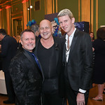 Christian Knaust, Fashion designer Carmen Marc Valvo, Jacob Lahr. Photo by Tony Powell. 2019 Blue Hope Bash. Mellon Auditorium. November 2, 2019