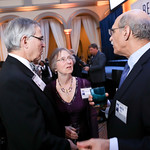 Rush Holt, Margaret Lancefield, Nobel Prize Recipient Martin Chalfie. Photo by Tony Powell. 2019 Regeneron Science Awards. Building Museum. March 12, 2019
