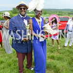 Emmanuel Bailey with 1st Place hat contest winner Tameka Young, DC09 Party at the 2019 Gold Cup, Great Meadow, May 4, 2019, photo by Nancy Milburn Kleck