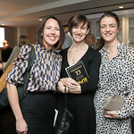"Jen Harty, Rachel Scallon, Nina Weir. Photo by Tony Powell. Hilda Ochoa Brillembourg ""Delivering Alpha"" Book Party. Cafe Milano. March 11, 2019"