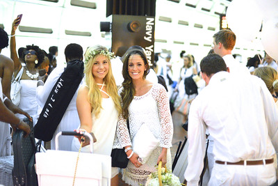 Elizabeth  Rassmussen, Victoria Michals, The global phenomenon secret dinner party, Diner en Blanc, attracted over 1,300 guests all wearing white.  The Yards Park, Thursday, September 4, 2014.  Photo by Ben Droz