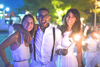 Lauren Hersh, Vikram Aiyer, Smita Satiana, The global phenomenon secret dinner party, Diner en Blanc, attracted over 1,300 guests all wearing white.  The Yards Park, Thursday, September 4, 2014.  Photo by Ben Droz