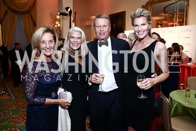 Yvonne Thunell, RoAnn Costin, Olof Nelson, Nicolina Nelson Miller. Photo by Tony Powell. Mentor Foundation USA International Gala. Mayflower Hotel. September 22, 2015