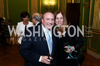 Daren Thomas, Susan Koch. Photo by Tony Powell. 2015 Refugees International Annual Dinner. Mellon Auditorium. April 28, 2015