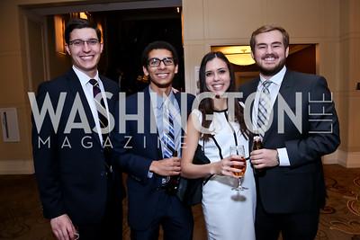 Connor Schmidt, Curtis Powell, Sarah Gibbens, Jordan Humphries. Photo by Tony Powell. WPCF Congressional Dinner. Mandarin Oriental. February 4, 2014